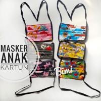 Masker kain size anak motif kartun lucu bahan katun tali panjang