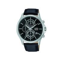 Jam Tangan Pria Alba Chronograph Original AM3417 Strap Leather Black