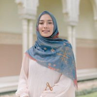 KERUDUNG SEGI EMPAT MOTIF VOAL ULTRAFINE AUTHENTISM RAYA SERIES NAVY