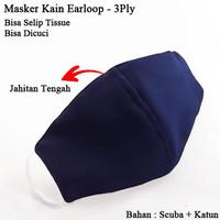 ELLIPSES.INC Masker Kain Selip Tisu Jahitan Tengah Earloop 3Ply - Bisa