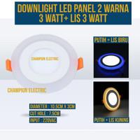 LAMPU DOWNLIGHT LED PANEL 2 WARNA INBOW PLAFON 3W + 3 WATT