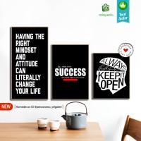 1 set Quotes Succes | Hiasan | pajangan dinding | poster | kayu