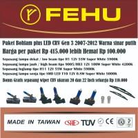 Paket bohlam Fehu plus LED Honda CRV Gen3 2007-2015. Sinar putih