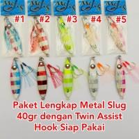 Paket Metal Jig 40gr Lengkap dengan Twin Hook untuk Slow Jigging