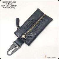gantungan kunci keyless hushpuppies jetblack premium kulit sapi