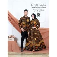 Baju Couple Batik Gamis Bambu Merah dan Bata