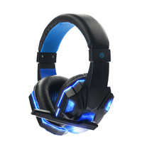 Gaming Headsets Wired 3.5mm Stereo Bass LED Light For Computer Laptop - Biru