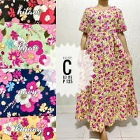 Daster Panjang All Size Rempel Lengan Pendek Kajep Lokal Long Dress