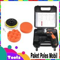 Paket Alat Poles Mobil dan Motor Mesin Bor Baterai Cordless Drill