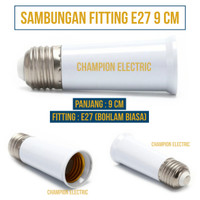Socket sambungan Pemanjang lampu fitting E27 Bohlam Standar 9cm