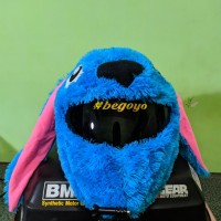 COVER HELM ELMO - STITCH BIRU