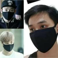 Masker Kain Korea - Masker Korea - Bisa di cuci - Warna Hitam