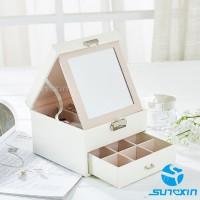 Kotak perhiasan 2 layer/tempat perhiasan/box penyimpan jam tangan