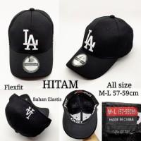 BARU topi pria cowok baseball LA import flexfit - Hitam BARU