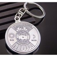 Kalender Perpetual Baru Keyring Keychain Gantungan Kunci Perak Logam