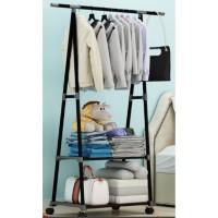Triangle Stand Hanger-Lemari Baju-Rak Baju Minimalis dengan 4 Roda