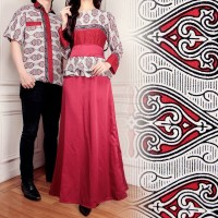 SB Collection Couple Gamis Maxi Adeline Longdress dan Kemeja Batik