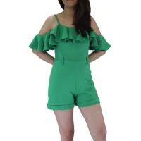 Jumpsuit pendek sabrina untuk wanita model shoulder off bahan scuba