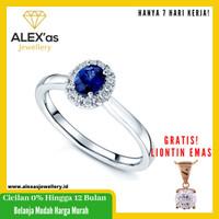 cincin berlian with blue saphire Classic natural diamond emas 18k fvvs