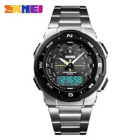 Jam Tangan Pria SKMEI 1370 Original Digital Analog Stainless Steel - Silver