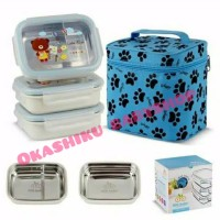 Gig baby rectangle (biru) Lunch box,kotak makan stainless tahan panas