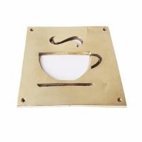 """6-1/8"""" Plat Tanda Kedai Cafe Kopi Minuman / Brass Sign - Cafe"""