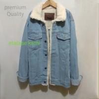 jaket jeans bulu jaket sherpa jaket bulu hangat warna biru Bioblitz
