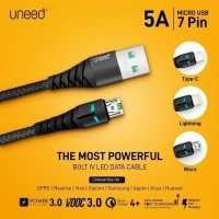 UNEED UCB41C Bolt IV LED Kabel Data USB C QC 4+ / 3.0 / VOOC Max 5A