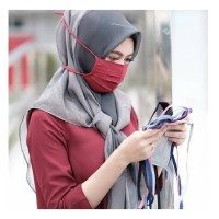 Masker kain tali warna panjang Hijab jilbab oxford trendi nyaman