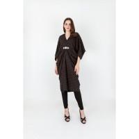 Penguin Sleeves Furry Jacquard Kaftan W/ Xtal Chain