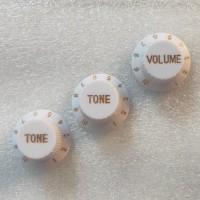Knob knop topi putih gold untuk Fender Ibanez gitar bass volume tone