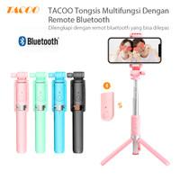 TACOO Tongsis Tripod Tomsis 3 in 1 Wireless Portable Remote Bluetooth - Merah Muda