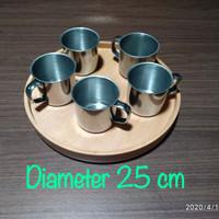 Baki Kayu Bulat / Nampan Kayu / Tray Kayu / Round Tray Diameter 25 cm