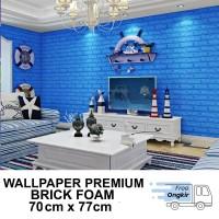 Wallpaper Dinding Foam 3D Bata Biru Size 70 X 77 CM -