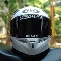 Helm KYT K2rider white solid fullface K2 rider paket ganteng