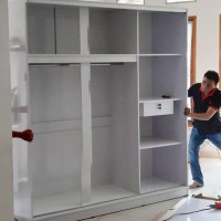 Lemari Pakaian 3 Pintu Sliding Finishing Hpl - Putih Glossy - Tanpa