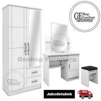 Lemari Pakaian 2 Pintu Putih Dan Meja Rias Kaca Sliding Satriabudi802