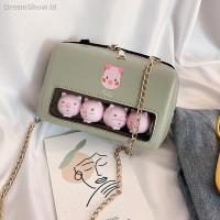 Tas Selempang Mini Kotak Transparan + Tali Rantai untuk Wanita /
