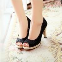 NEW Sepatu Sandal High Heels Wanita Pantofel Brukat SDH28 - Hitam 37