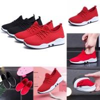 Sepatu Sneakers Olahraga Outdoor Warna Hitam Merah Ukuran 35-40