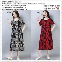 Midi Mini Dress Casual Wanita Korea Import AB734371 Merah Red Black