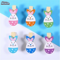 HW 12pcs Wooden Lovely Rabbit Colored Photo Paper Peg Clips Holder