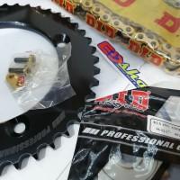 gear SET KLX 428 DID HD DTRAKER 150 KLX150 GOLD GER 428H TEBEL NOT SSS