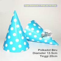 Topi kerucut polkadot biru / topi ultah polkadot / topi ulang tahun