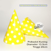 Topi Ulang Tahun Motif Polkadot kuning / topi kertas kerucut ultah