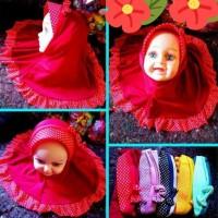 Jilbab Bayi Polka Pita Warna Cantik Lucu J12