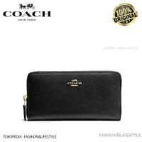Coach Wallet Accordion Zip Wallet Pebble Leather Black - Original 100%