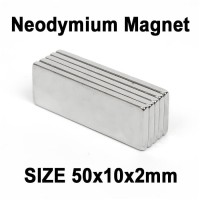 Magnet Super Neodymium Kepingan persegi kotak NdFeB 50 x 10 x 2 mm