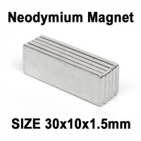 Magnet Super Neodymium Kepingan persegi kotak NdFeB 30 x 10 x 1,5 mm