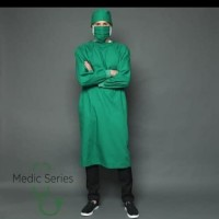 baju operasi plus tutup kepala bahan parasut waterproof